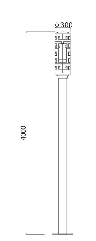 street light/landcape light/pole light  D300*H4000mm SMD LED 30W T5 3*14W CFL E27 45W/65W