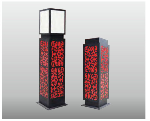 Landscape lamp red & black PMMA or Faux marble LED190W T5 9*28W TFB lighting