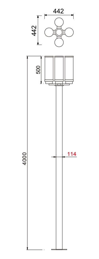 landscape light pole light street light SMD LED 4*21W T5 4*28W 4 light heads WD-T120