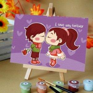 oil painting beginner kit children canvas oil painting with easel 10*15cm
