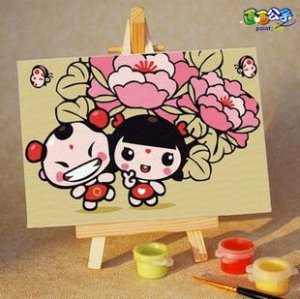 Best price Diy oil painting by numbers A079 children mini painting set canvas painting with easel