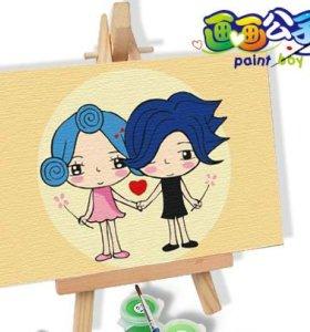 Best price Diy digital oil painting 10*15CM painting kit wirh wood easel