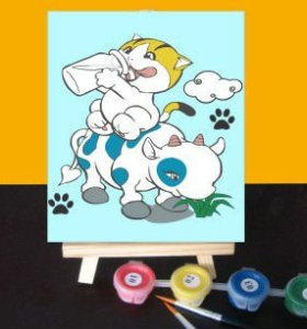 Painting for kids children oil painting kit painting by numbers with wood easel