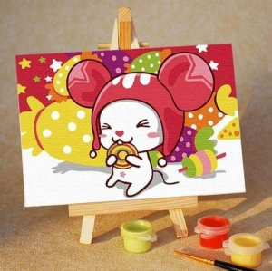 New style Paint by numbers A059 mini size children oil painting kit with wood easel