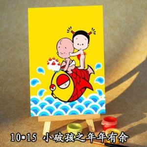 yiwu wholesales diy painting by numbers mini oil painting by number with easel cartoon picture