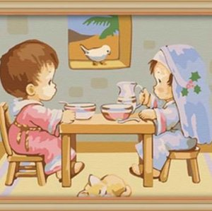 wholesales diy oil painting with numbers diy painting by numbers new cartoon picture design