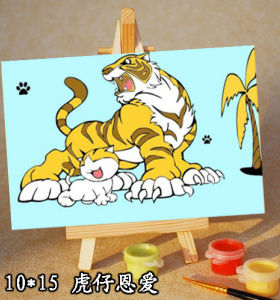 wholesales diy paint with numbers tiger animal picture mini painting for children with wood easel