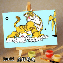 Ventas al por mayor diy pintura con números tiger animal imagen mini pintura para los niños con madera caballete
