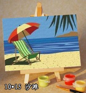 sea cape oil painting by numbers -kid's painting kit-diy art set-sketching by numbers 10*15cm