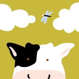 Enmarcado 20 * 20 paintboy vaca lechera de dibujos animados principiante DIY pinturas de la lona by número para los niños B009