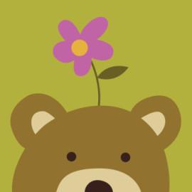 Enmarcado 20 * 20 paintboy fácil de bricolaje pinturas de la lona by número de dibujos animados oso para principiante B012