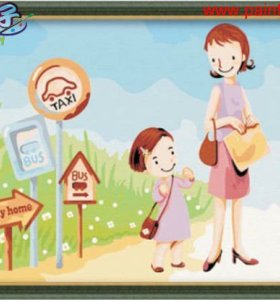 C008 mother and daughter design Good quality Diy oil Paint by numbers