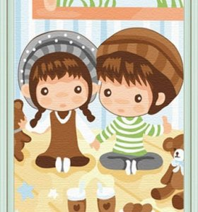 Good quality Diy oil Paint by numbers C055 20*30cm little boy and girl design