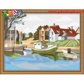 großhandel diy malen mit Zahlen e073 handmaded seelandschaft malerei auf leinwand gesetzt