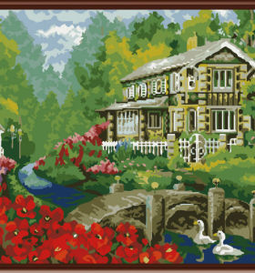 2.5cm thickness wooden frame painting with numbers kits landscape flower picture oil painting