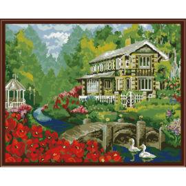 2,5 cm Dicke holzrahmen malerei mit zahlen-sets Landschaft blume bild Ölgemälde