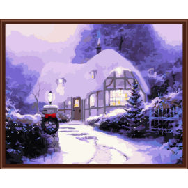 2,5 cm Dicke holzrahmen malerei mit zahlen-sets weihnachten bild malerei