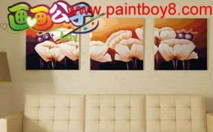 oil abstract flowers painting for girls,3 panels ,new flower picture