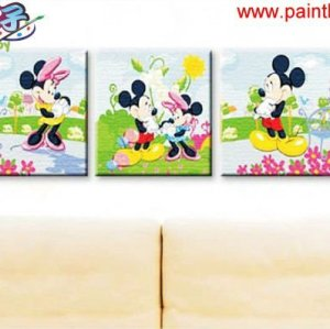 acrylic oil painting cartoon pictures,3 panels