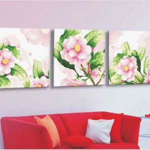 triple oil painting 3 panels oil painting by numbers flower picture design Painting for kids