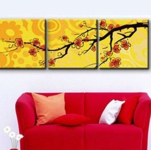 Diy oil Painting by numbers P008 triple painting on canvas with flower design