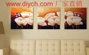 Diy oil painting by numbers P001 triple painting with flower design 3 panels