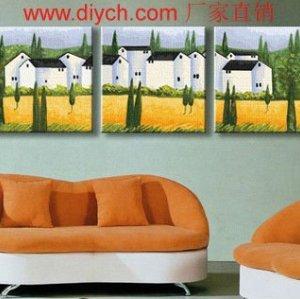 Diy oil painting by numbers P005 village naturel landscape acrlic paitning yiwu wholesales