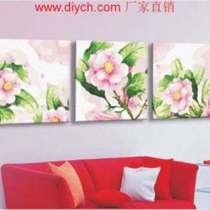 Painting by numbers new flower design triple painting for home deco