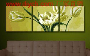 Diy oil painting by numbers P002 triple flower design painting 3pcs panels group painting on canvas for home decor