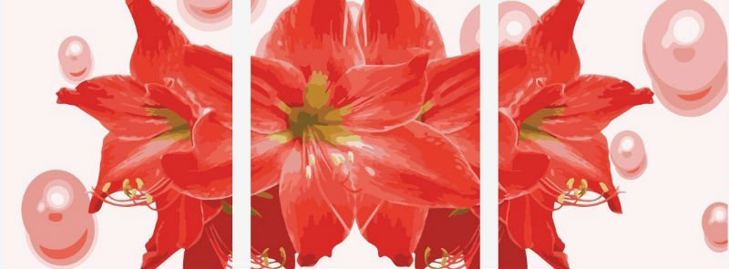 P029 red flower design paintings Good quality Diy oil Paint by numbers