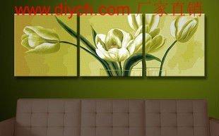 Diy oil painting by digital P002 flower design 3pcs group paintings