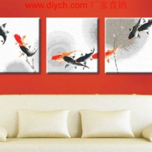 Diy oil painting by digital triple painting by numbers G006 fish design