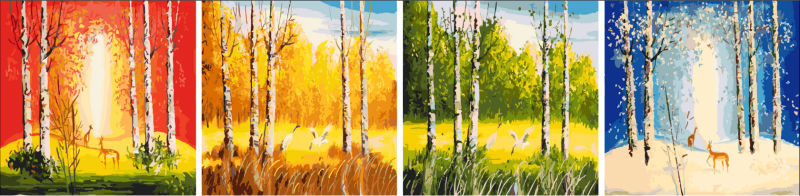 diy oil paint by numbers four panels new design oil painting