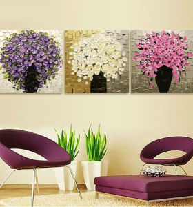hot photo flower triptych painting by numbers for home decor