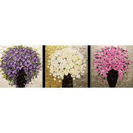 Todavía flor vida digital de DIY acrílico tríptico pintura de la decoración del hogar