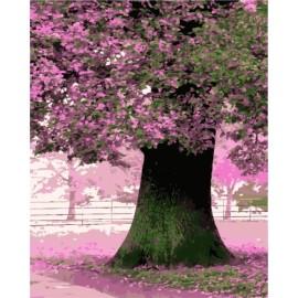 Tríptico diy pintura al óleo by números en la lona caliente foto del árbol GX7164