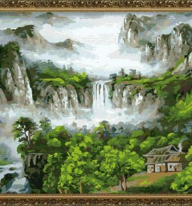 H059 naturel landscape large size canvas painting by numbers yiwu factory wholesales