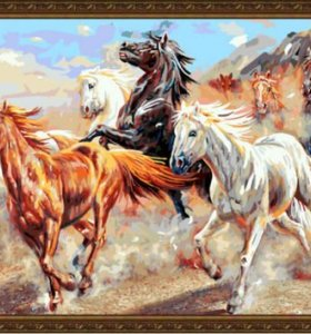wholesales diy oil painting with numbers running horse large size painting