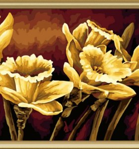 J013 golden painting with flower design wholesales diy paint with numbers