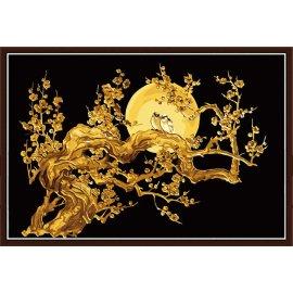großhandel diy Ölgemälde goldenen blume malen nach zahlen Größe goldene malerei