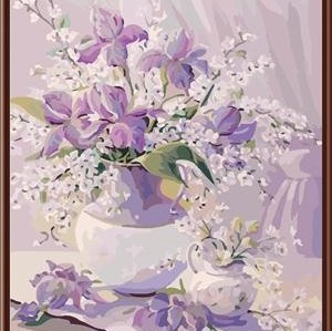 Yiwu manufactory 40*50 abstract diy landscape oil painting on canvas new flower design