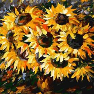 digital oil painting astract painting by numbers with sunflower picture 2015 new design GX6751