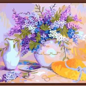 GX6813 paint by number 2015 canvas oil painting with flower and vase picture