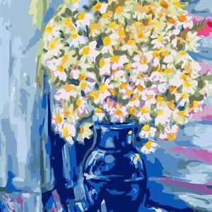 still life flower photo with vase canvs oil paint by number GX6673