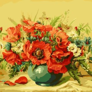 art suppliers canvas oil painting by numbers flower picture GX7173