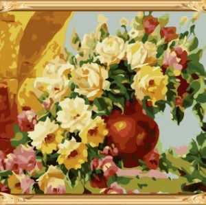 GX7265 yiwu wholesales hot flower oil painting by numbers for living room decor