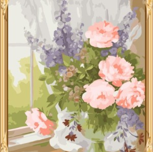 GX7284 acrylic canvas flower oil paint by numbers wiith wooden frame