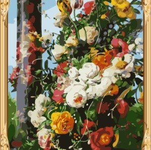 2015 new hot flower oil painting by numbers for home decor GX7303