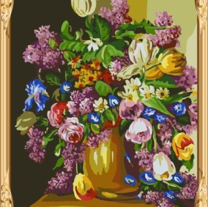 GX7392 yiwu factory wholesales flower oil paint by numbers for home decor