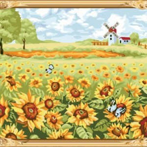 GX7458 paint boy brand naturel landscape sunflower oil painting by numbers kits